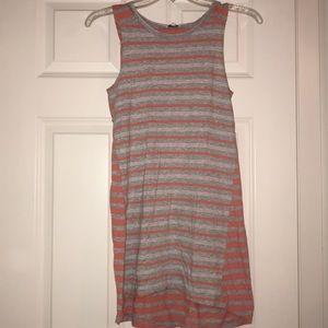 Orange and grey striped kids splendid dress